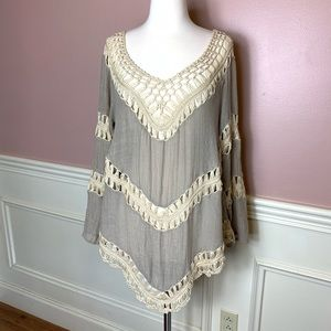 Umgee Creamy Crochet and Taupe Blouse